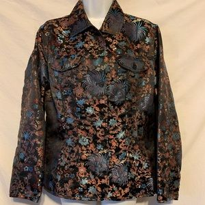 Chico's 1 Sm med Asian inspired embroider jacket